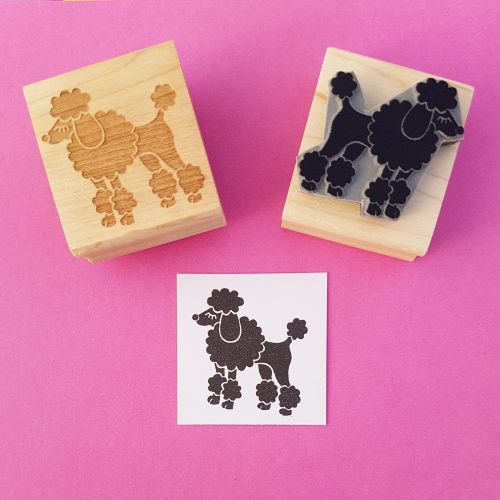 Fancy Poodle Hand Carved Rubber Stamp