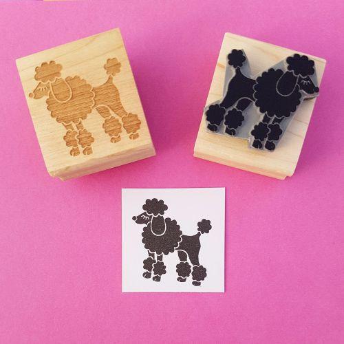 Fancy Poodle Hand Carved Rubber Stamp