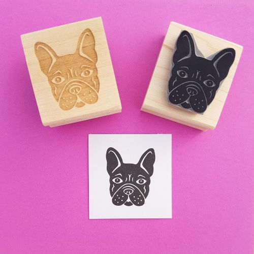 French Bulldog Hand Carved Rubber Stamp