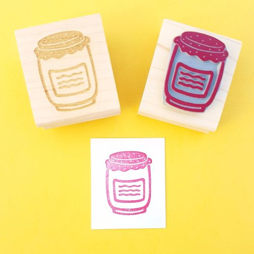Jam Jar Hand Carved Rubber Stamp