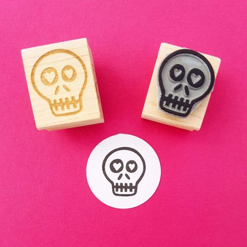 Love Sick Skullie Hand Carved Rubber Stamp