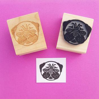 Lovely Pug Rubber Stamp
