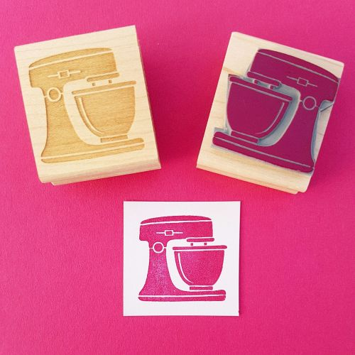 Kitchen Mixer Hand Carved Rubber Stamp