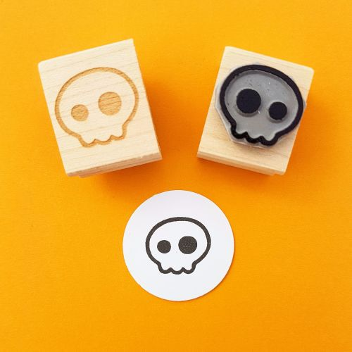 Mini Quirky Skull Hand Carved Rubber Stamp