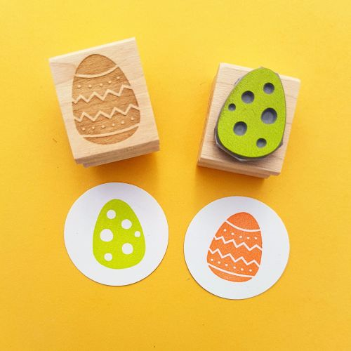 Pair of Easter Eggs Hand Carved Rubber Stamps