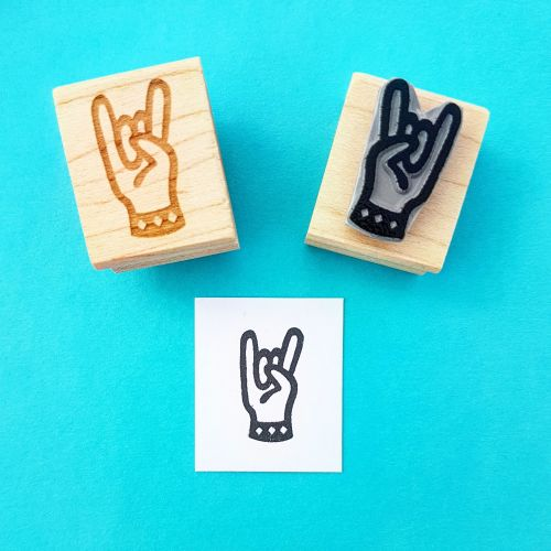 Rock 'n Roll Horns Hand Carved Rubber Stamp