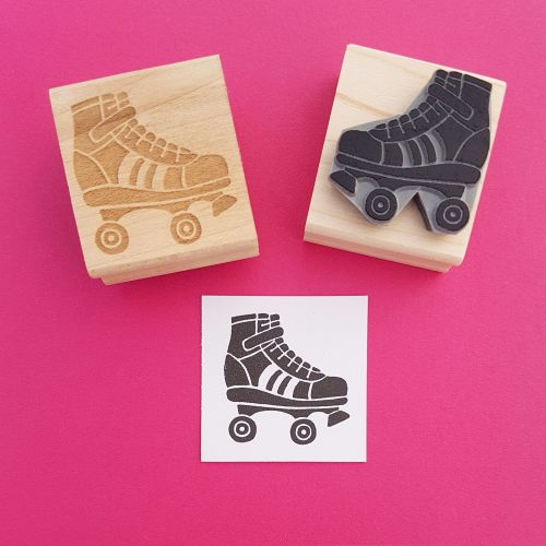 Roller Skate Hand Carved Rubber Stamp