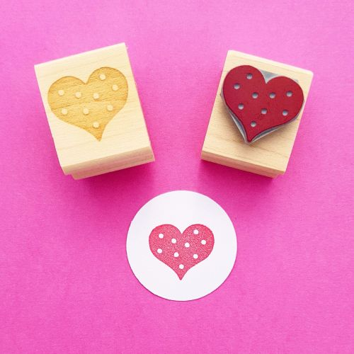 Spotty Heart Hand Carved Rubber Stamp
