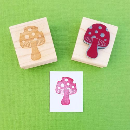 Spotty Toadstool Hand Carved Rubber Stamp