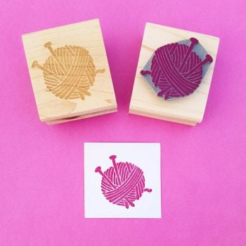 Yarn and Needles Rubber Stamp