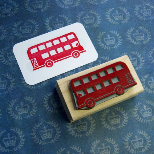 London Bus Hand Carved Rubber Stamp