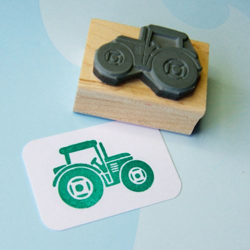 Mini Tractor Hand Carved Rubber Stamp