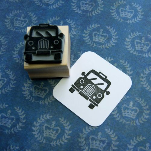 Mini Taxi Hand Carved Rubber Stamp