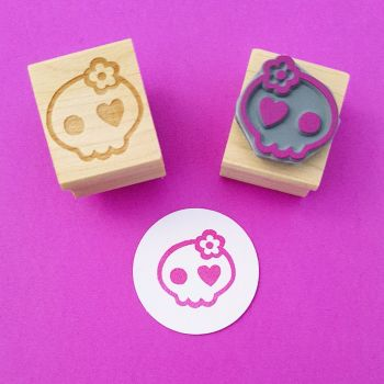 Mini Girlie Skull Rubber Stamp