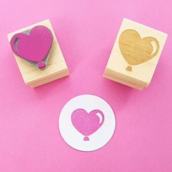 Heart Balloon Rubber Stamp
