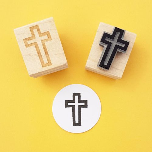 Mini Cross Rubber Stamp