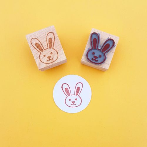 Cute Bunny Hand Carved Rubber Stamp
