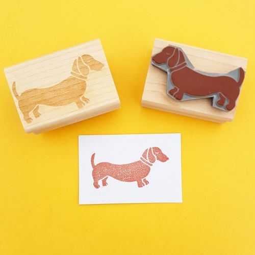 Dachshund Hand Carved Rubber Stamp