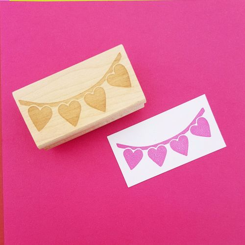 Heart Bunting Hand Carved Rubber Stamps