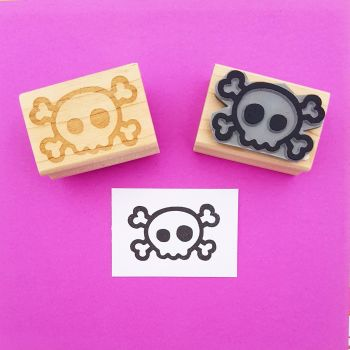 Mini Skull and Cross Bones Rubber Stamp