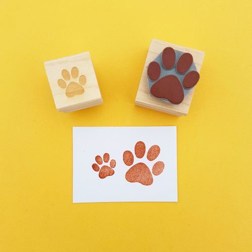 Pair of Paws Hand Carved Rubber Stamp