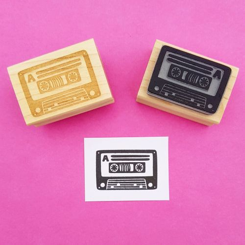 Cassette Hand Carved Rubber Stamp