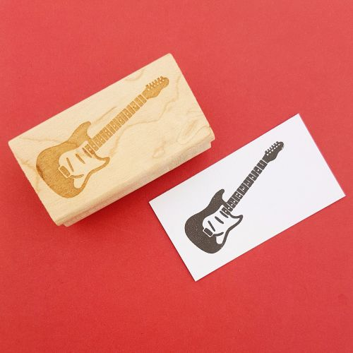 Rock Guitar Hand Carved Rubber Stamp