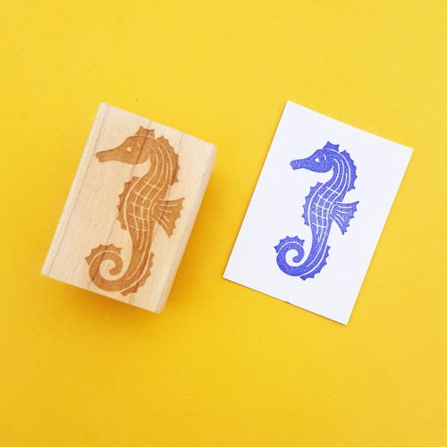 Seahorse Hand Carved Rubber Stamp