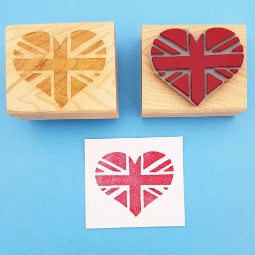 Union Jack Heart Hand Carved Rubber Stamp