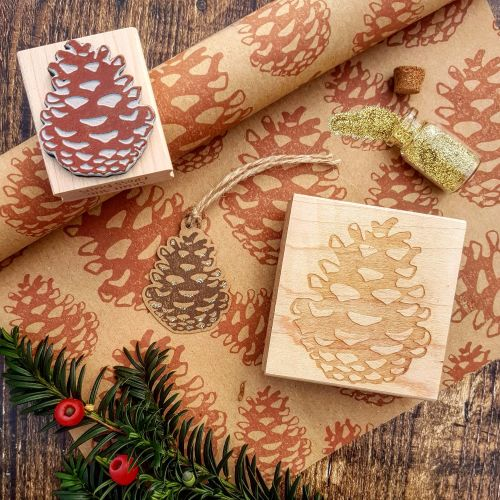 **NEW FOR 2017** - Christmas Pinecone Rubber Stamp