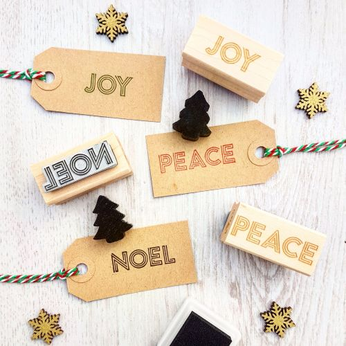 **NEW FOR 2017** - Christmas Joy, Peace and Noel Neon Sign Set of 3 Rubber Stamps