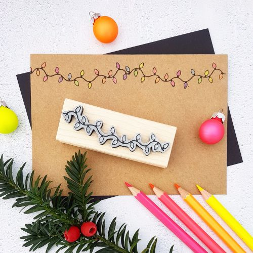 **NEW FOR 2017** - Christmas String of Tree Lights Rubber Stamp