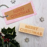 Merry Christmas Neon Sign Rubber Stamp