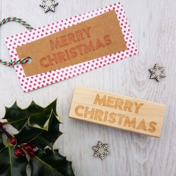 **NEW FOR 2017** - Merry Christmas Neon Sign Rubber Stamp