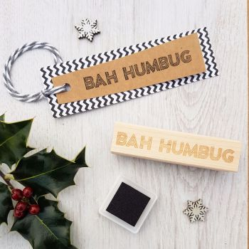 Bah Humbug Neon Sign Rubber Stamp