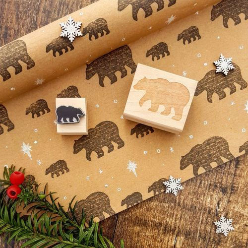 **NEW FOR 2017** - Christmas Mother and Baby Bear Rubber Stamp Set