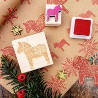 Christmas Dala Horse Rubber Stamp