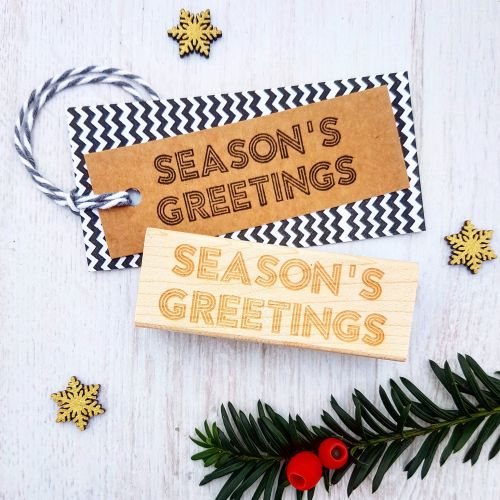 **NEW FOR 2017** - Christmas Season's Greetings Sign Rubber Stamp