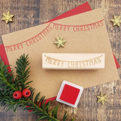 **NEW FOR 2017** - Merry Christmas Bunting Rubber Stamp