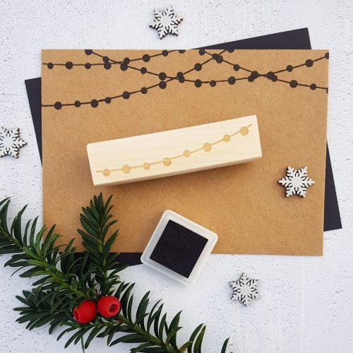 **NEW FOR 2017** - Christmas String of Lights Rubber Stamp
