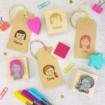Personalised Woman And Girl Character Rubber Stamp