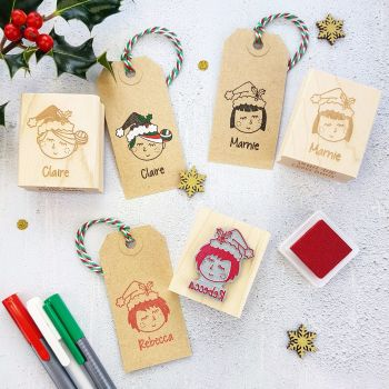 Personalised Christmas Woman And Girl Character Rubber Stamp