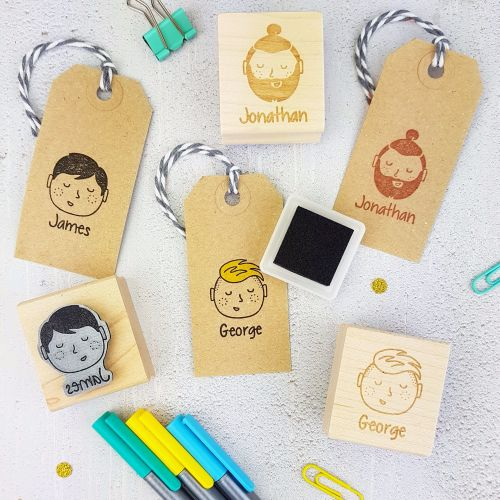 ***NEW FOR 2017*** Personalised Man And Boy Character Rubber Stamp