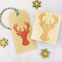 Christmas Stag's Head Rubber Stamp