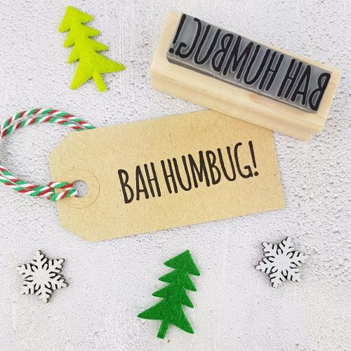 BLACK FRIDAY WEEKEND DEAL Bah Humbug Skinny Font Rubber Stamp