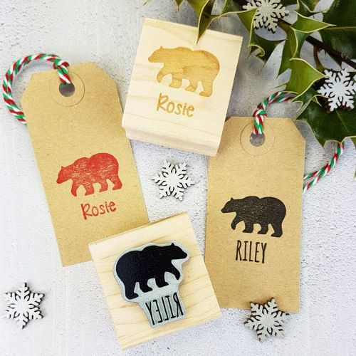 BLACK FRIDAY WEEKEND DEAL Personalised Children's Bear Rubber Stamp 20% OFF