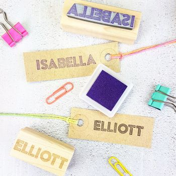 Personalised Neon Light Name Rubber Stamp