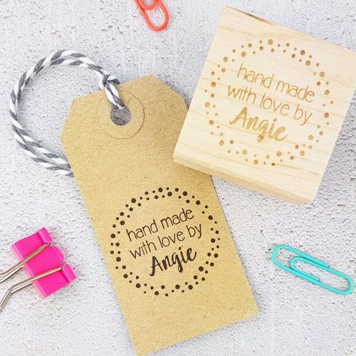 BLACK FRIDAY WEEKEND DEAL Personalised Spotty Handmade By Rubber Stamp 50%