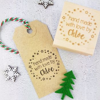 Personalised Christmas Stars Handmade By Rubber Stamp