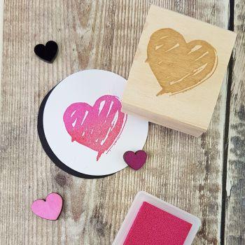 Brush Heart Rubber Stamp